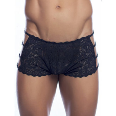 Malebasics Mens Black Lace Open Side Boxers - MaleBasics