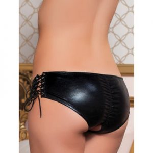 Seven 'til Midnight Crotchless Wet Look Knickers with Lacing - Seven 'til Midnight