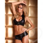 7heaven Andrea Wet Look Crop Top and Hot Pants - 7heaven