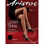 Aristoc Ultra Shine 10 Denier Black Lace Top Hold Ups - Aristoc
