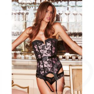 Baci Lingerie Pink Satin and Lace Boned Corset