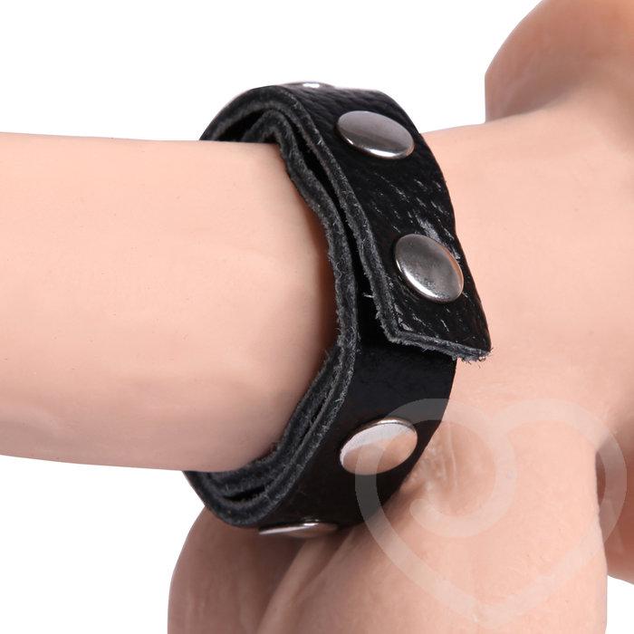 Bondage Boutique Advanced Leather Studded Adjustable Cock Ring - Bondage Boutique