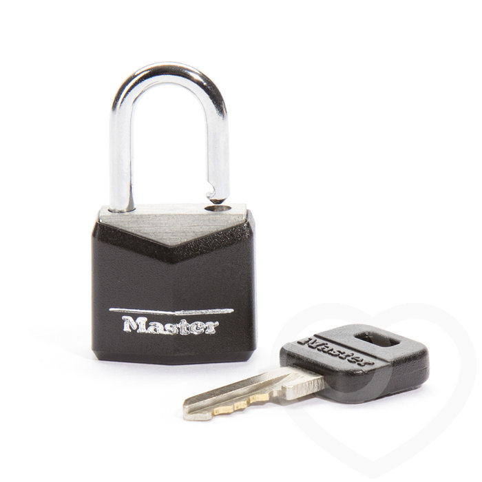 CB Black Covered Brass Padlock (1 key) - CB Chastity Devices