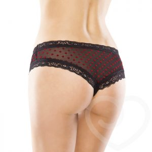 Coquette Crotchless Heart Print Knickers