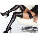 Coquette Darque Plus Size Wet Look Thigh High Stockings - Darque