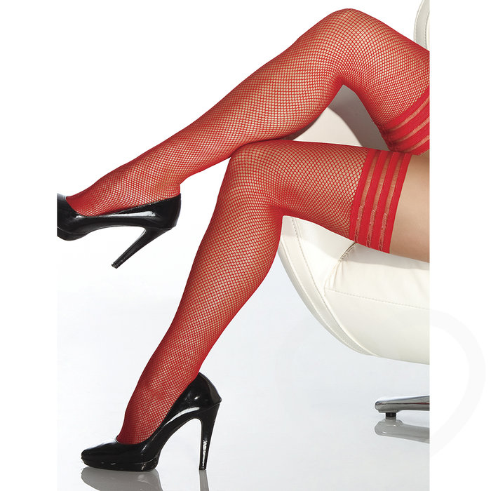 Coquette Red Fishnet Stripe-Top Hold-Ups - Coquette
