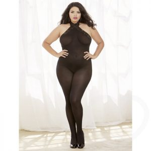 Dreamgirl Plus Size Crotchless Opaque Lace-Up Bodystocking