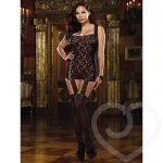 Dreamgirl Plus Size Sheer Lace All-In-One Garter Dress and Stockings - Dreamgirl Lingerie