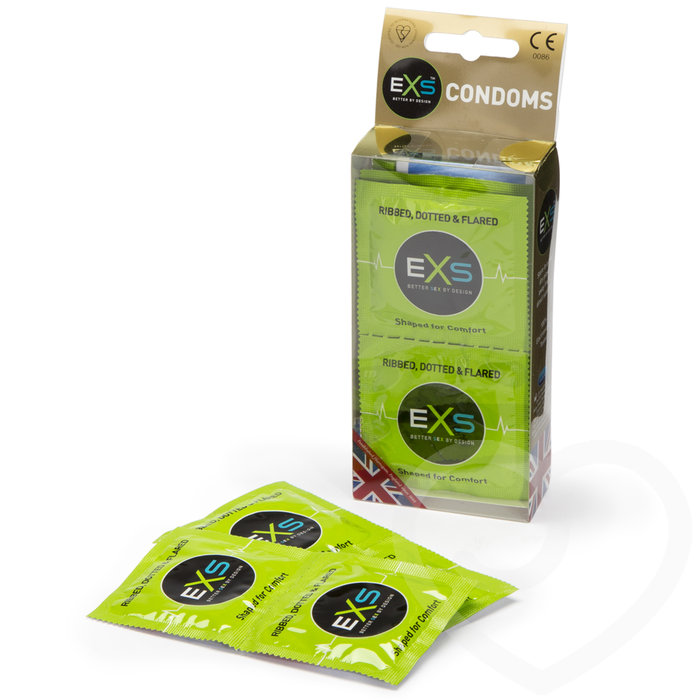 EXS Ribbed Dotted and Flared Condoms (12 Pack) - EXS Condoms