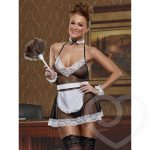 Exposed Cheap Thrills Fishnet and Lace French Maid Costume - Exposed