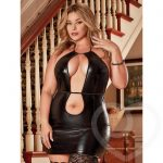 Exposed Liquid Onyx Plus Size Double Keyhole Dress and G-String Set - Exposed