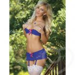 Exposed Luv 1/2 Cup Blue Floral Lace Bra & Suspender Set - Exposed