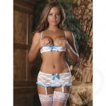 Exposed Luv 1/2 Cup White Floral Lace Bra & Suspender Set White - Exposed