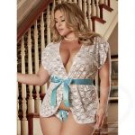 Exposed Luv Plus Size Floral Lace Short Robe Set White - Exposed