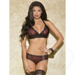Glitter Red Leopard and Lace Halter Bra and Brief Set - iCollection