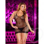 Lapdance Plus Size Halter Neck Crochet Mini Dress - Lapdance