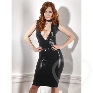 Late X Collection Low Cut Latex Dress