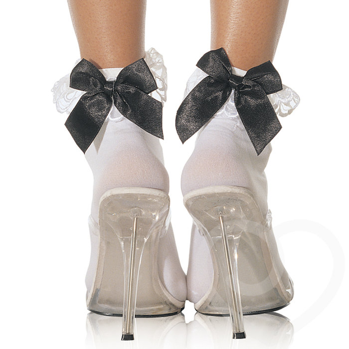 Leg Avenue Opaque Ankle Socks with Lace and Bow Trim - Leg Avenue