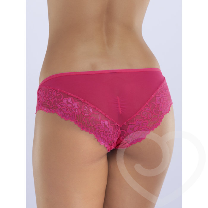 Lovehoney Flirty Pink Lace and Mesh Knickers - Lovehoney Flirty