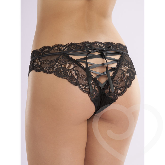 Lovehoney Lace-up Crotchless Knickers - Lovehoney Lingerie
