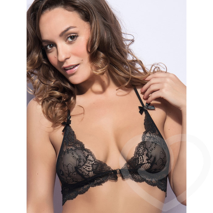 Lovehoney Love Me Lace Halter Bra Black - Lovehoney Lingerie