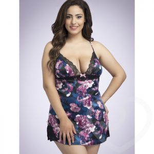 Lovehoney Plus Size Midnight Bloom Satin Babydoll - Lovehoney Lingerie