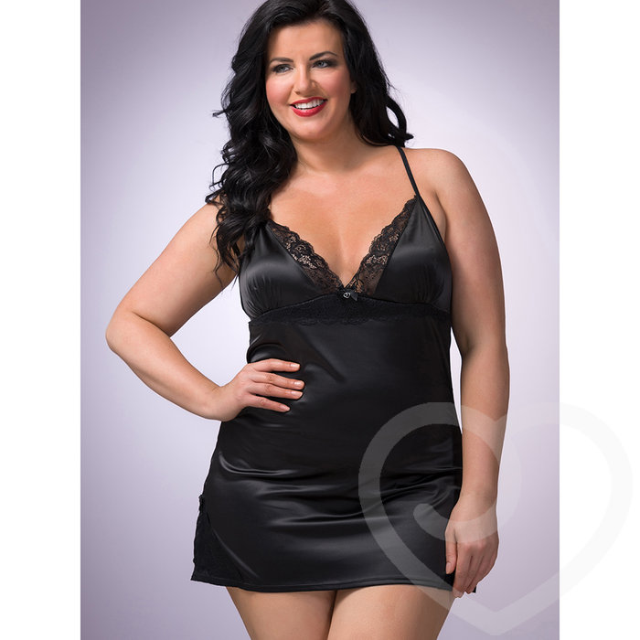 Lovehoney Plus Size Satin and Lace Babydoll Set Black - Lovehoney Lingerie