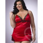 Lovehoney Plus Size Satin and Lace Babydoll Set Red - Lovehoney Lingerie