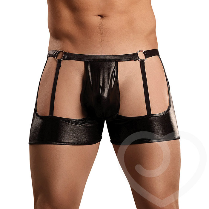 Male Power New Extreme Wet Look Garter Shorts - Male Power
