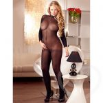 Mandy Mystery Plus Size Sheer Crotchless High Neck Catsuit - Mandy Mystery