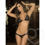 Mapale Wet Look and Sheer Strappy Bra Set - Mapale