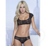 Mapale Lace Crop Top & Open-Back Briefs Set - Mapale