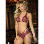 Mapale Lace Halter Bra Set with Back Detail - Mapale