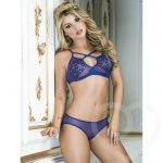 Mapale Lace and Mesh Bra Set with Open Back Knicker - Mapale