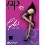 Pretty Polly Gloss 10 Denier Lace Top Black Hold Ups - Pretty Polly