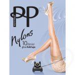 Pretty Polly Nylons 10 Denier Sherry Glossy Lace Top Hold Ups - Pretty Polly