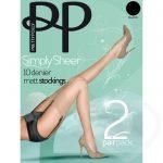 Pretty Polly Simply Sheer 10 Denier Black Matt Stockings 2 Pack - Pretty Polly