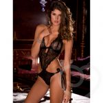 Rene Rofe Open Back Lace Teddy with Ribbon Ties - René Rofé