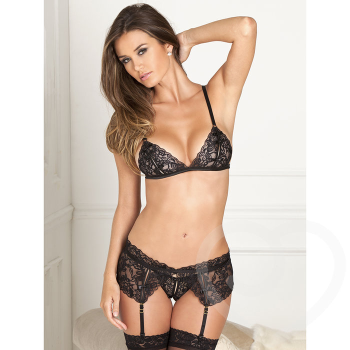 Rene Rofe Peek-a-Boo Bra and Crotchless G-String Set - René Rofé