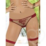 Roza Nude & Red Embroidered Mesh Briefs - Roza Lingerie