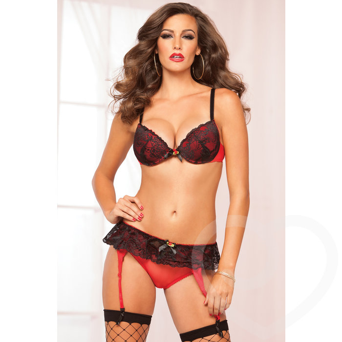 Seven 'til Midnight Naughty Little Secret Bra and Garter Set - Seven 'til Midnight
