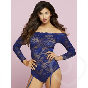 Seven 'til Midnight Off The Shoulder Blue Lace Suspender Body