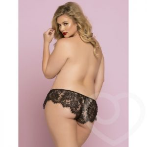 Seven 'til Midnight Plus Size Black Lace French Knickers