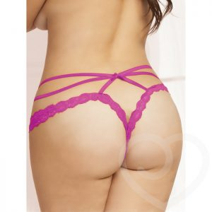 Seven 'til Midnight Plus Size Crotchless Pink Lace and Mesh Cage Brief - Seven 'til Midnight