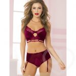 Seven 'til Midnight Wine Velvet Longline Bra Set - Seven 'til Midnight