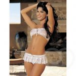 Shirley of Hollywood White Lace Up Bandeau Bra and Skirt Set - Shirley of Hollywood