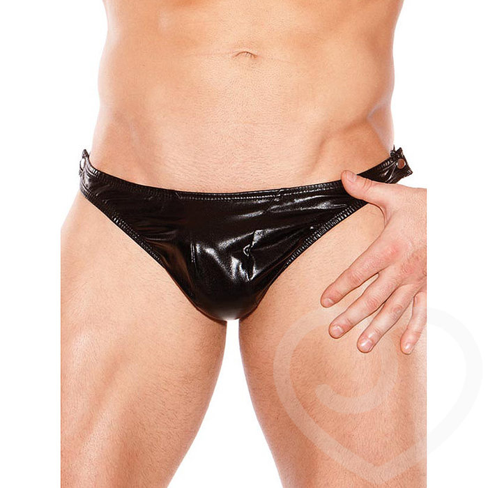 Zeus by Allure Fetishwear Wet Look Quick Strip Thong - Allure Fetishwear