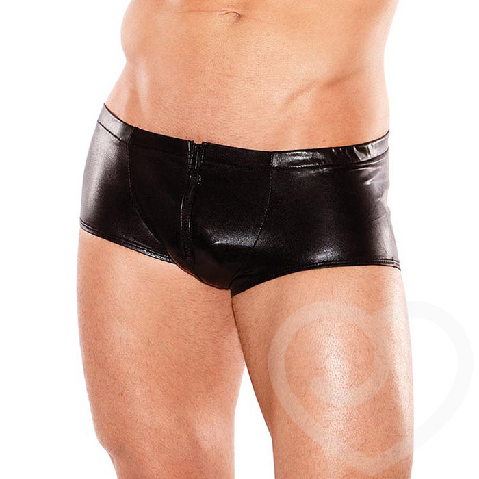 Zeus by Allure Fetishwear Wet Look Zip Boxers - Allure Fetishwear