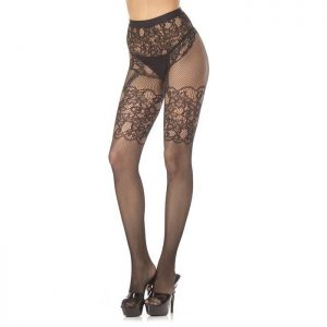 BeWicked Temperance Crotchless Floral Lace Tights