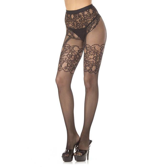 BeWicked Temperance Crotchless Floral Lace Tights - BeWicked Lingerie